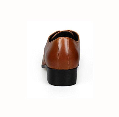 WZG los zapatos de los hombres de negocios de alta calidad, zapatos de cuero de los hombres de los hombres señalaron los zapatos de los hombres tallados Bullock Brown