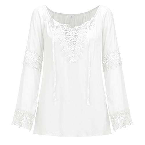 Plus Size Tops for Women,Ladies Casual Flower Lace V-Neck Long Sleeve T-Shirt Home Daily Beach Loose Blouse S-5XL -