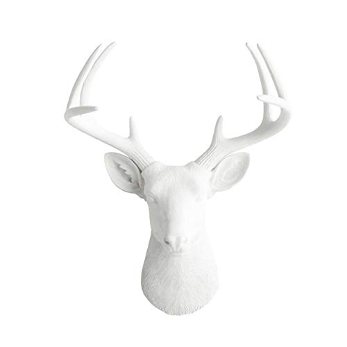 Head Deer Large - Wall Charmers Large White Faux Deer Head - 21 inch Faux Taxidermy Animal Head Wall Decor - Handmade Farmhouse Decor - Rustic Wall Decor Deer Antlers