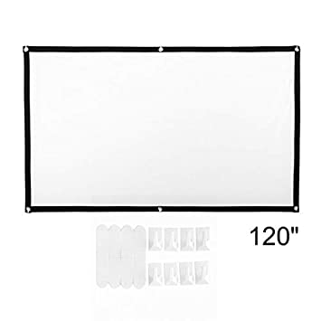 Pantalla Plegable portátil para proyector de películas Pantalla de Cine en casa con proyección 16: 9 HD para exhibición pública de la reunión de la ...