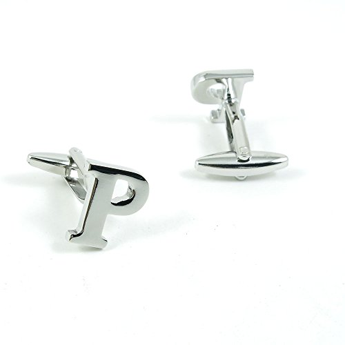 50 Pairs Cufflinks Cuff Links Fashion Mens Boys Jewelry Wedding Party Favors Gift RXA028 Shinning Silver Letter P by Fulllove Jewelry