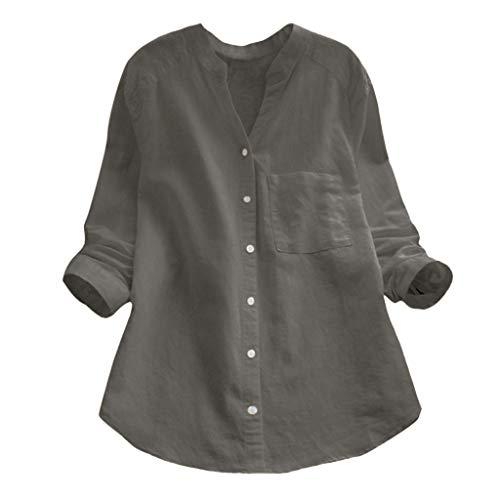 Rambling Women Cotton Linen Casual Loose Button-Down Shirt Solid Long Sleeve Basic Blouse Henley Tops (Gray, - Long Henley Striped Shirt Sleeve