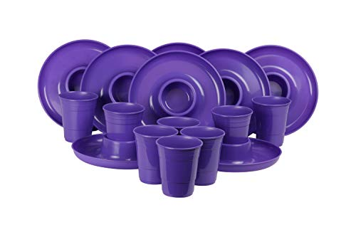 GreatPlate GP-GCP-PRPL-8x8AZ Purple Combo Pack, 8 Purple GreatPlates, Food Tray and Beverage Holder, 8 Purple GreatCups, Dishwasher Safe, Microwave Safe, Made in USA, Picnics, Parties, Tailgates, Appetizers, Great for Kids -