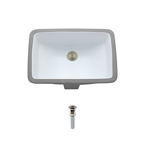 U1913-White Undermount Porcelain Bathroom Sink Ensemble, Brushed Nickel Pop-Up Drain by MR Direct