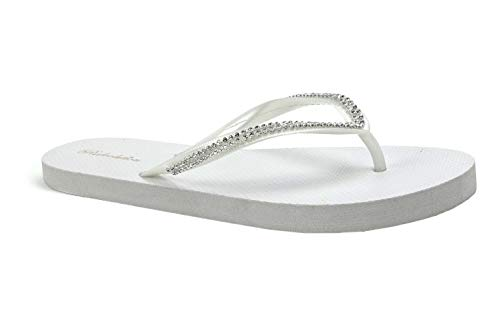New Women's Rhinestone Sandals Diamond Head Flip Flop Beach, Gym, Pool-313L (7, White) -