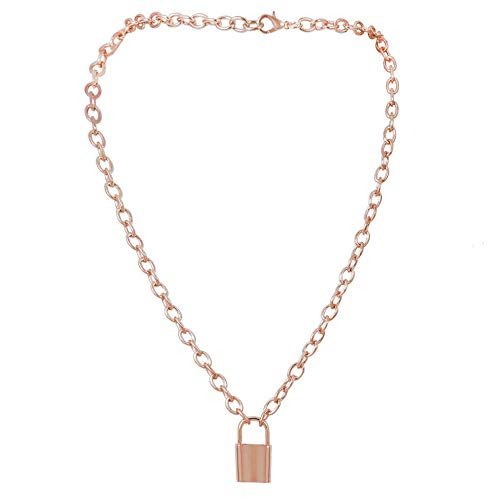 Aegenacess Y Necklace Lock Pendant Simple Cute Necklaces Long Multilayer Chain Fashion Jewelry Women Girls Gift for Her (Rose Gold)