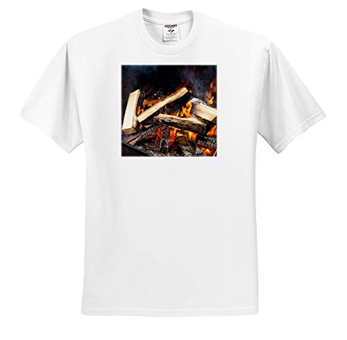 (Alexis Photography - Texture Fire - Burning firewood in an Open Stove. Yellow and Orange fire and Smoke - T-Shirts - White Infant Lap-Shoulder Tee (24M) (ts_287118_69))