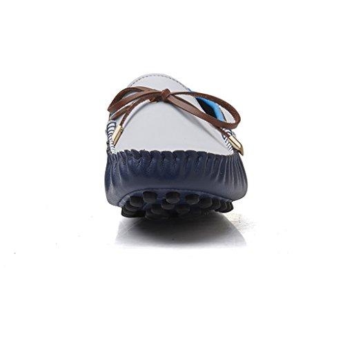 Sunrolan Mens Fashion Pu Läderklänningen Avslappnad Körning Mockasiner Dagdrivare Skor Vit / Blå