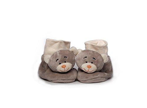 Babyschuhe, Bär, 10 cm, grau/orange, Plüschbärenschuhe