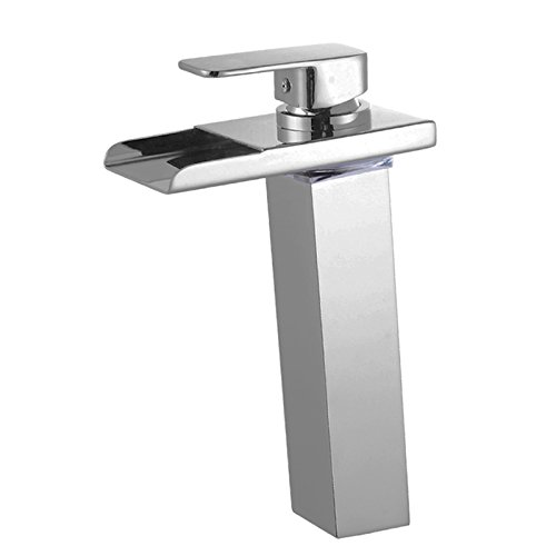 Wovier Brushed Nickel LED Water Flow Color Changing Waterfall Bathroom Sink Faucet,Single Handle Single Hole Vessel Lavatory Faucet,Basin Mixer Tap Tall Body ()