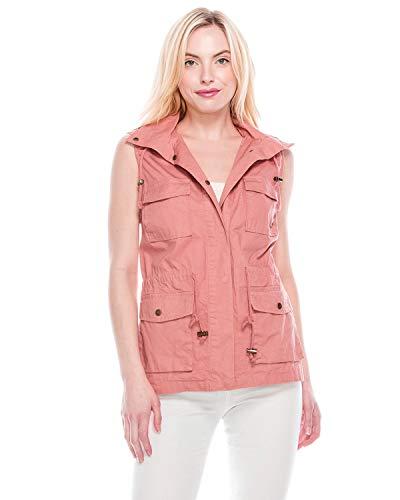 ZIMEGO Women's Lightweight Sleeveless Safari Pockets Military Hooded Vest (Pink Camo Vest Women)
