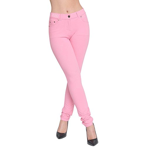 Rose Rose Mince Jeggings Color Coupe Superglamclothing Extensible Jean bb Femmes xUgqBF4Aw