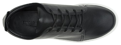 AnnaKastle Womens Soft Vegan Leather Casual Lace Up Sneaker Black U2O452