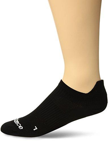 New Balance Flat Knit Running No Show Tab Socks (1 Pair), Black, Large