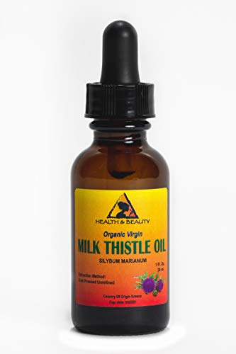 Milk Thistle Seed Oil Unrefined Organic Virgin Raw Cold Pressed Prime Fresh Pure 1 oz with Glass Dropper ()