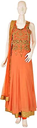 Sanskriti Orange Festive Anarkali Set For Women