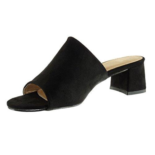 Angkorly - Chaussure Mode Sandale Mule femme Talon bloc 5.5 CM - Noir