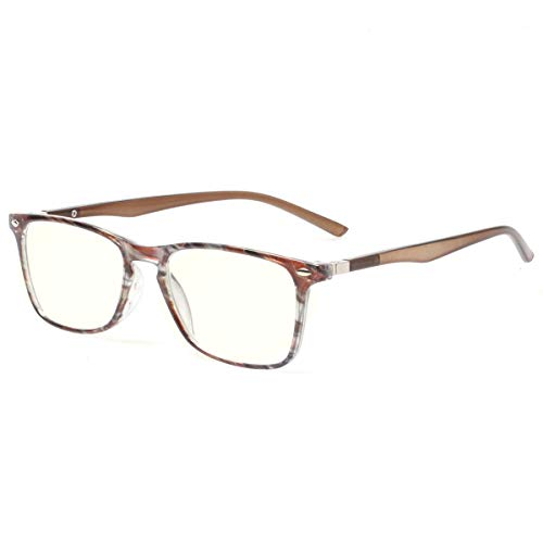 Computer Reading Glasses Blue Light Blocking Readers Men and Women Glasses of Reading (Brown Stripe, 1.0)