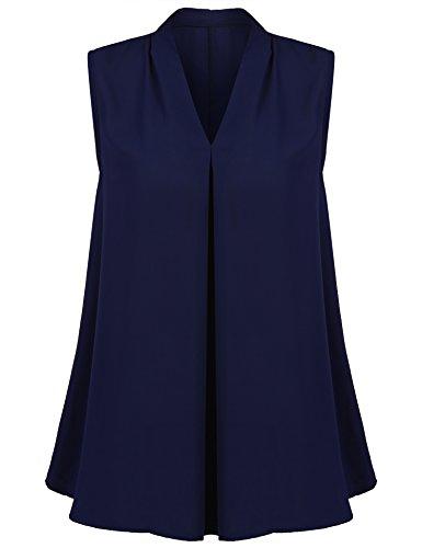 Concep Chiffon Blouse Junior Summer Beach Sleeveless V Neck Tank Top Tunic Shirt (Navy Blue, (Sleeveless V-neck Shell)
