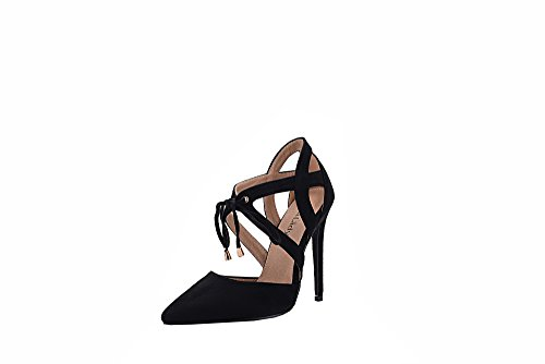 Mila Lady Nydia D'Orsay Classic Lace Ankle Strappy Elegance Stilettos Lady Heels, Black 8.5