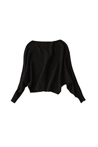 Barco cuello manga larga alas de murciélago suéter camisa Yacun mujeres Black