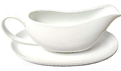 Porcelain Coupe Shaped Gravy Sauce Boat, With Saucer 16-Ounce