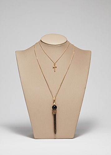 IDSIGN Double-Layer Cross Black Agate Tassel Pendant Necklace 32''+28'' by IDesign (Image #1)