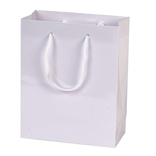 "GHP 100-Pcs 8""x4""x10"" Glossy Gloss White Euro-Tote Paper Gift Bag with Rope Handles"