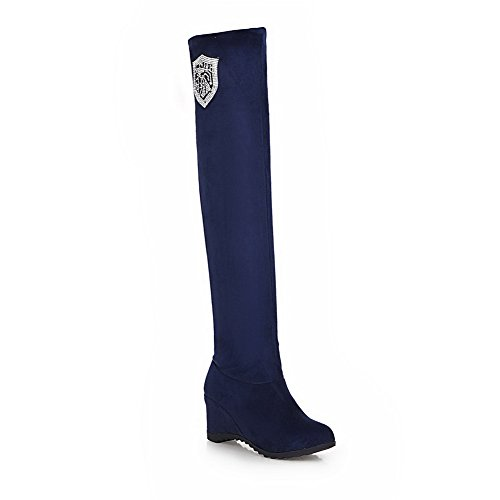A&N Ladies Heighten Inside Glass Diamond Foldable Frosted Boots Blue Vo32P