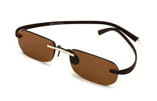 Small Low Profile Rimless Lightweight Rectangular Sunglasses With Memory Flex Temple (Brown, - Profile Sunglasses Low