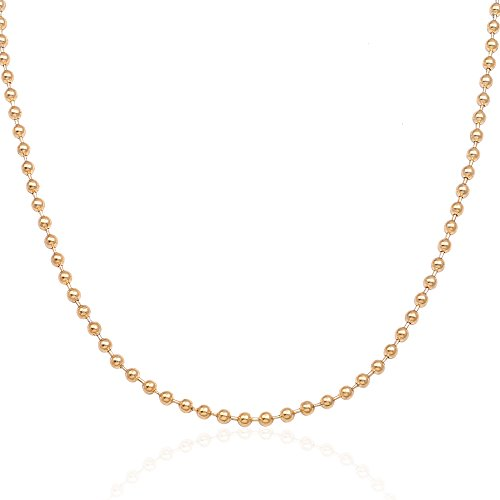 ss Steel Unisex Gold Beaded Ball Chain Necklace Link 3mm (16 Inches) (16 Inch Beaded Chain)