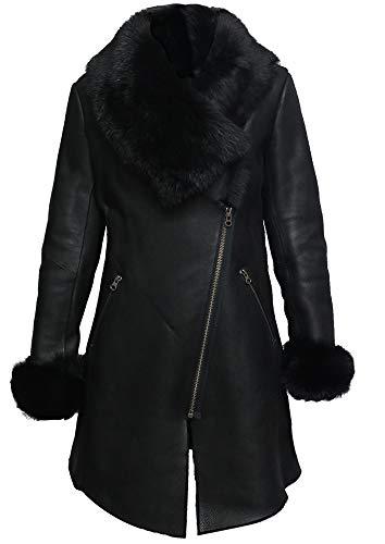 Brandslock Women Genuine Sheepskin Leather Spanish Merino Coat (Large / (Fits Chest: 38-40 inches), Black)