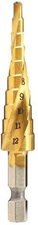 Gulakey 4pcs HSS Spiral Grooved Step Drill Bit 3-12//4-12//4-20//4-32mm Step Drill