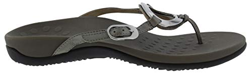 (Vionic Women's Rest Karina Toe-Post Sandal - Ladies Flip- Flop with Concealed Orthotic Arch Support Pewter 8 W US)