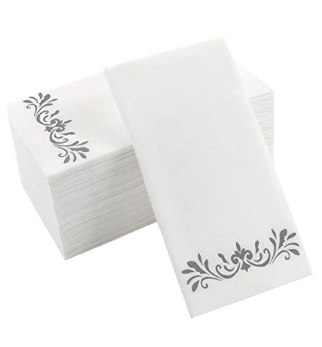 Silver Napkins for Wedding Reception, Guest Towels Disposable, Decorative Hand Towel, Linen Feel Disposable Hand Towels for Guest Bathroom & More - White with Silver, 100 Pack, 8.25 x 4 Inches