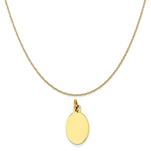 Engravable Disc Charm (Mireval 14k Yellow Gold Plain .027 Gauge Engravable Oval Disc Charm on 14K Yellow Gold Rope Necklace, 16