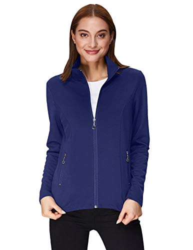 (Kate Kasin Women's Stand Collared Long Sleeve Full Zip-up Hoodie (S,Navy Blue))