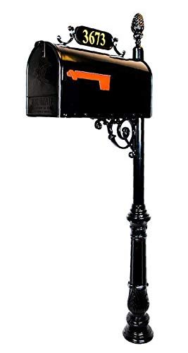 Addresses of Distinction Charleston Large Mailbox & Post System - Black Rust Resistant Mailbox - Includes Address Plaque, Numbers, Scroll & Mounting Hardware - Metal Mailbox with Pineapple Finial