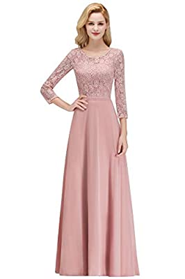 MisShow Women 3/4 Sleeve Long Formal Prom Evening Gowns Lace Bridesmaid Dresses