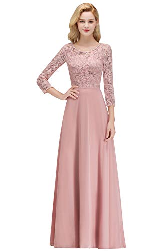 MisShow Elegant Mother of The Bride Dresses Long Lace Evening Gowns with Sleeves,Dustypink,14