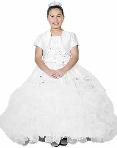 24df68d6c14 Alegria Kids Big Girls White Ruffled Organza Double Strap Bow Communion  Dress 7-24