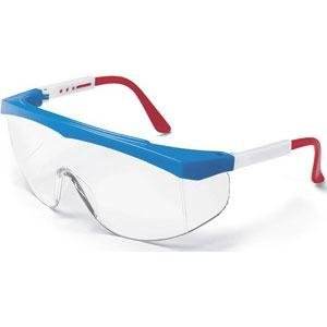 MCR Crews SS130 Stratos Safety Glasses Red White Blue Frame Clear Lens 1 Pair by Logistics