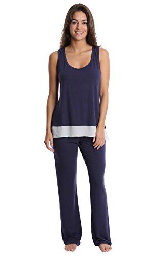 Nouveau Women's Light and Airy Sleepwear Set - Flowy Racerback Tank Top & Pajama Bottoms - Navy, Medium