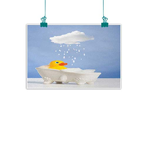 jiangni Rubber Duck,Picture Art Rubber Duck Taking a Bath with Cloud Over Head Humorous Kids Room Print W 32
