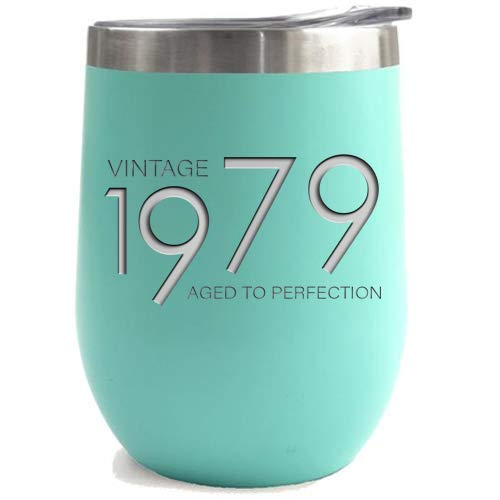 (1979 40th Birthday Gifts for Women and Men Teal 12 oz Insulated Stainless Steel Tumbler | 40 Year Old Presents | Mom Dad Wife Husband Present | Party Decorations Supplies Anniversary Tumblers Gift th)