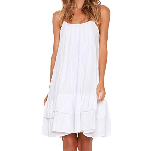 TEVEQ Women's Cute Dress Fashion Casual Vacation Style O-Neck Solid Color Ruffled Dress White