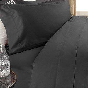 Egyptian Bedding 300-Thread-Count Egyptian Cotton 300TC Sheet Set, California King, Black Solid 300 TC ()