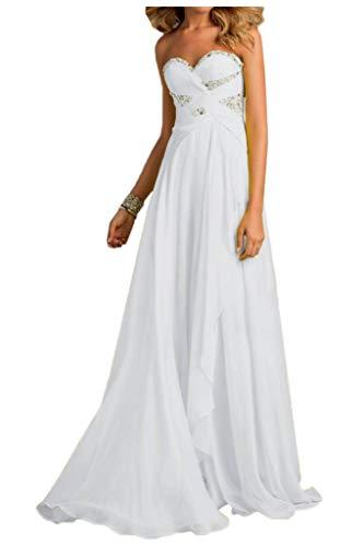 lang Abendkleider Pfirsisch Abschlussballkleider Brautjungfernkleider Linie Chiffon mia A Festlich Herzausschnitt Braut La Weiß Tw4WYFZqWz