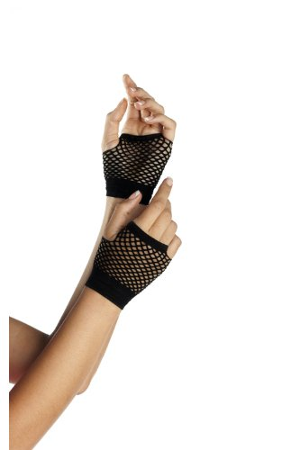 Be Wicked Women's Wrist Length Fingerless Fishnet Gloves, Black, One ()