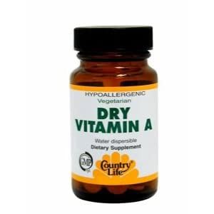 Country Life, Dry Vitamin A 10,000 I.U. , Tablets, 100 Count
